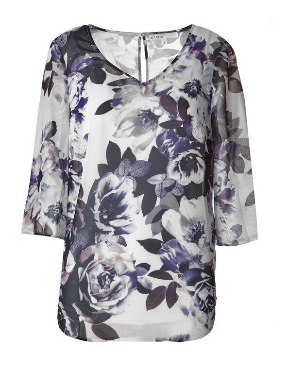 Purple Floral Chiffon Blouse, Purple/White, hi-res