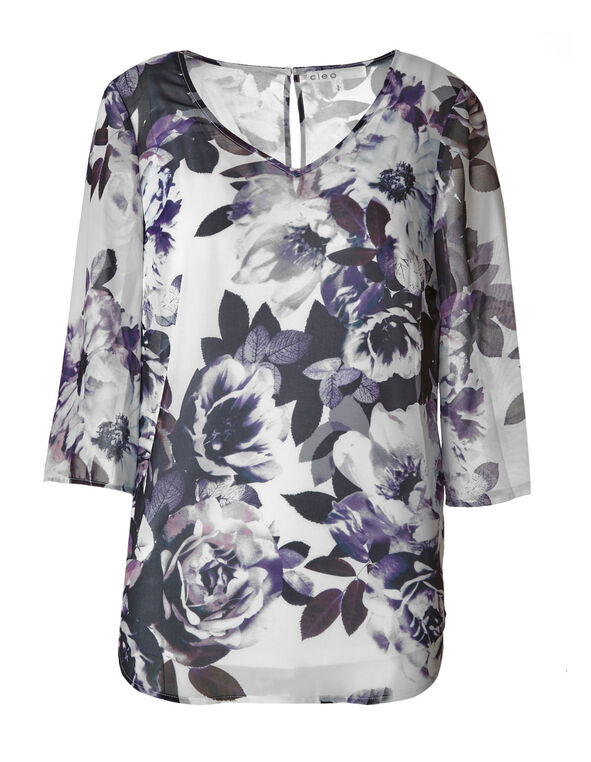 Purple Floral Chiffon Blouse, Purple/White, hi-res