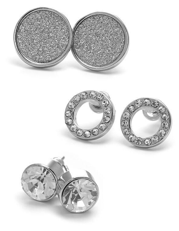 Silver Crystal Earring Trio, Silver, hi-res