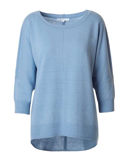Dusty Blue Dolman Back Button Sweater, Dusty Blue, hi-res