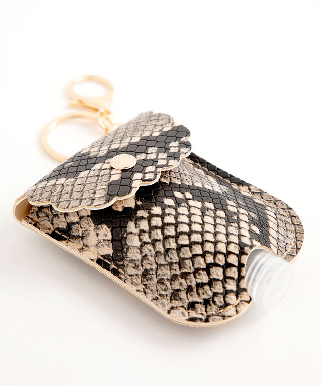 Snake Print Sanitizer Pouch, Brown/Black Snake