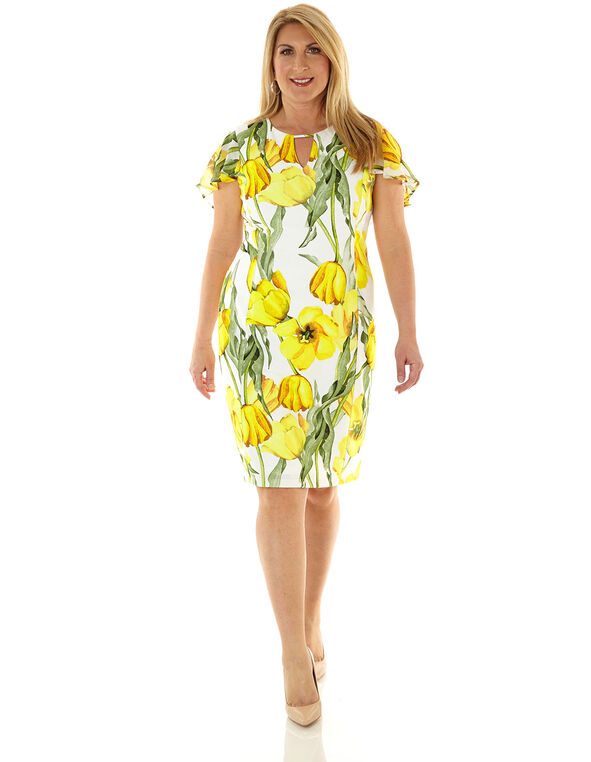 Yellow Floral Sheath Dress, Yellow/White, hi-res