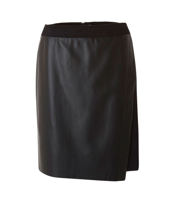 Faux Leather Suede Pencil Skirt, Black, hi-res