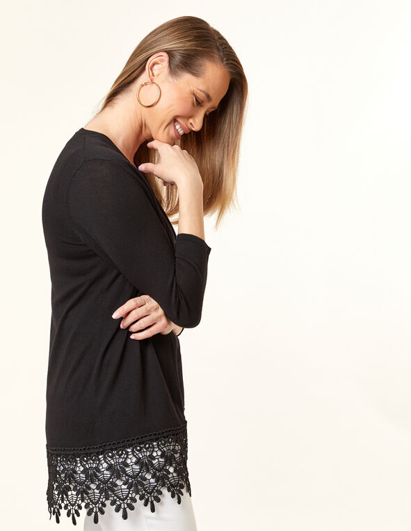 Black Crochet Long Cardigan, Black, hi-res