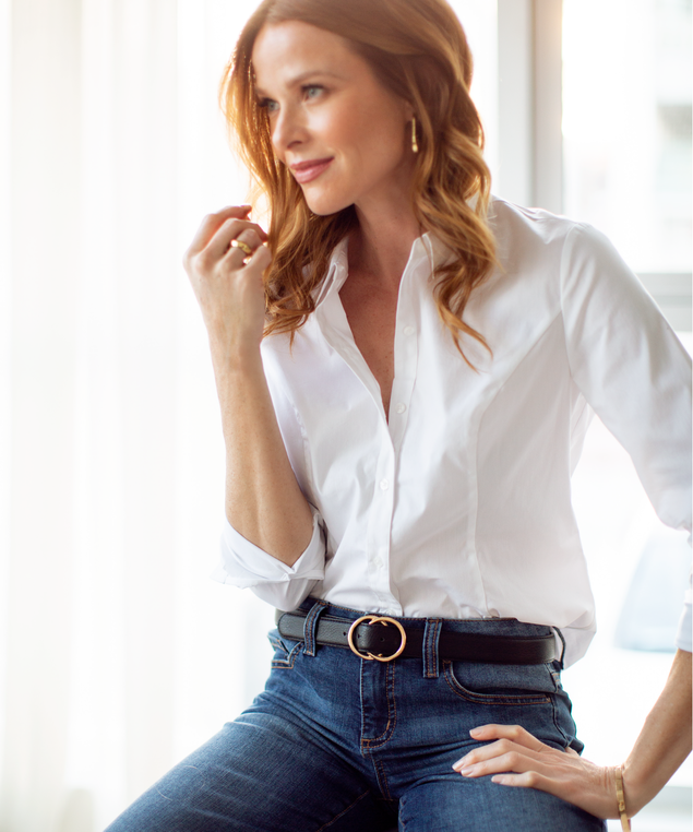 White Structured Blouse Look,