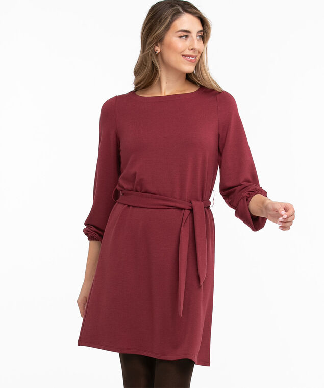 French Terry Balloon Sleeve Dress, Oxblood
