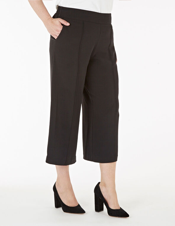 Black Wide Leg Crop Pant, Black, hi-res