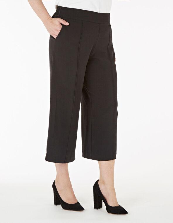 Black Wide Leg Crop Pant, Black, hi-res