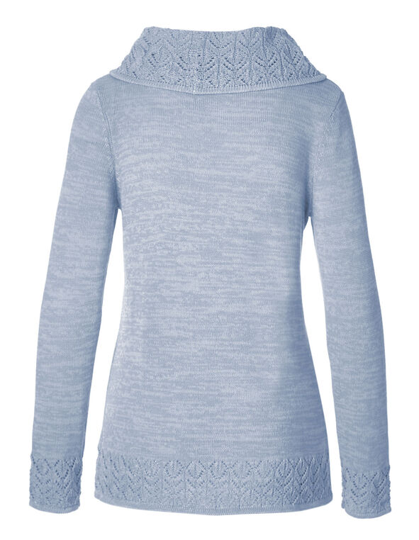 Soft Blue Crochet Hem Sweater, Soft Blue, hi-res