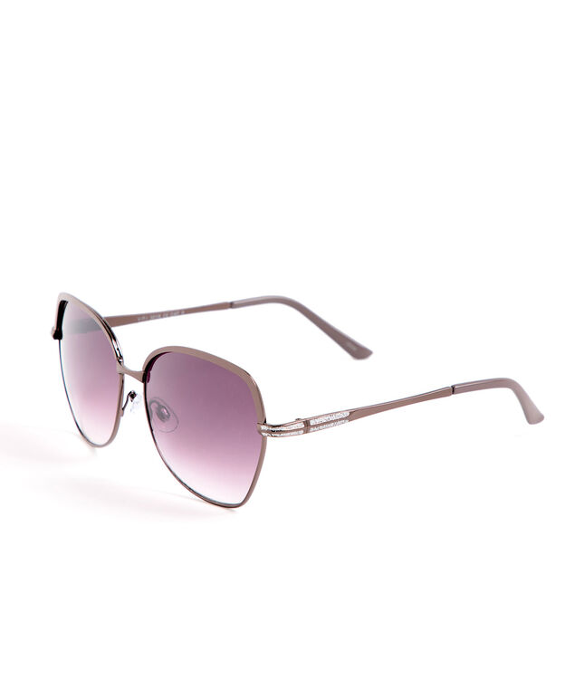 Large Brown Metal Sunglasses, Brown