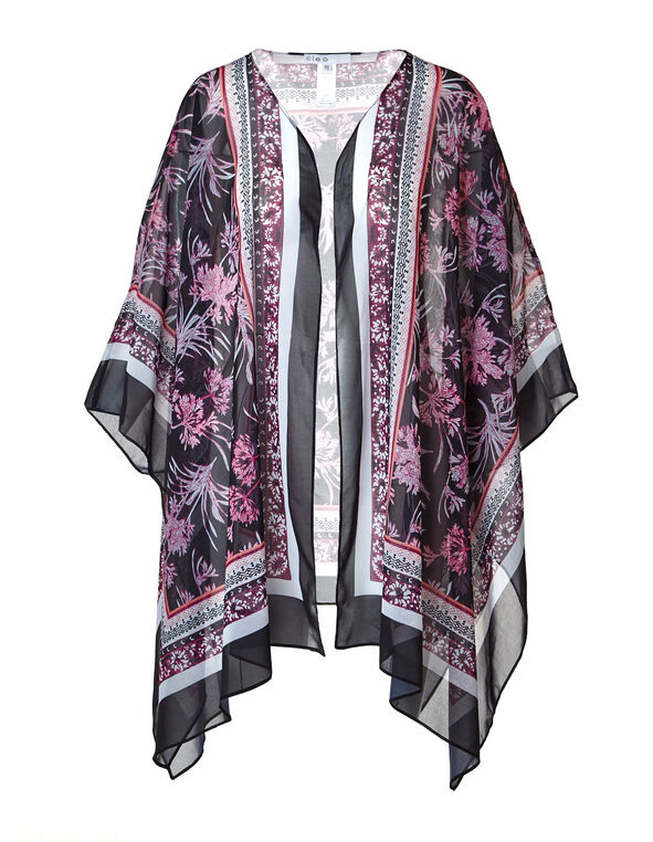 Purple Tropical Floral Print Kimono, Purple, hi-res