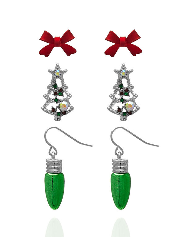 Christmas Earring Trio Set, Silver, hi-res