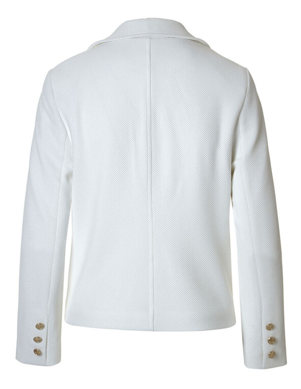 Ivory Pique Knit Military Blazer, Ivory, hi-res
