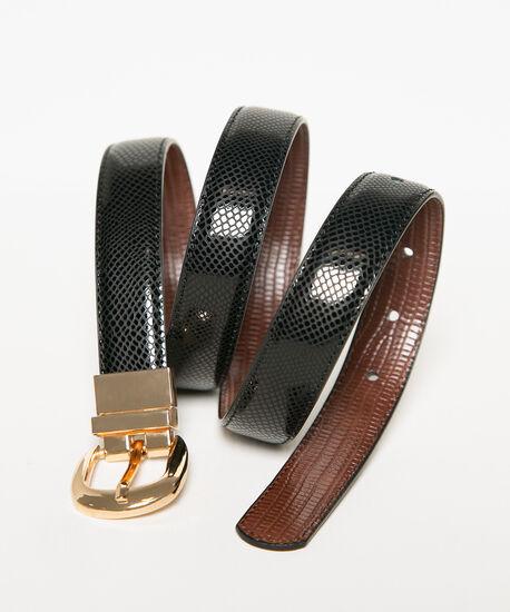 Black & Brown Reversible Croco Belt, Black/Brown, hi-res