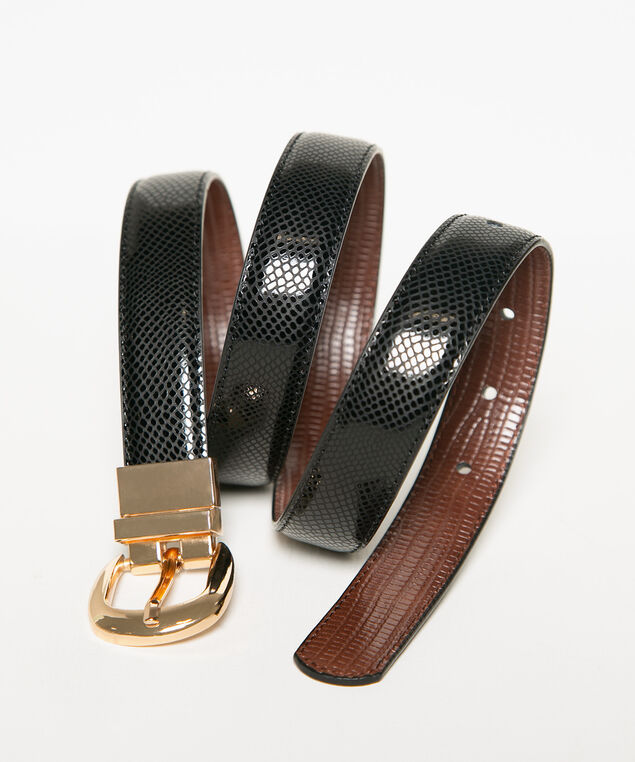 Black & Brown Reversible Croco Belt, Black/Brown