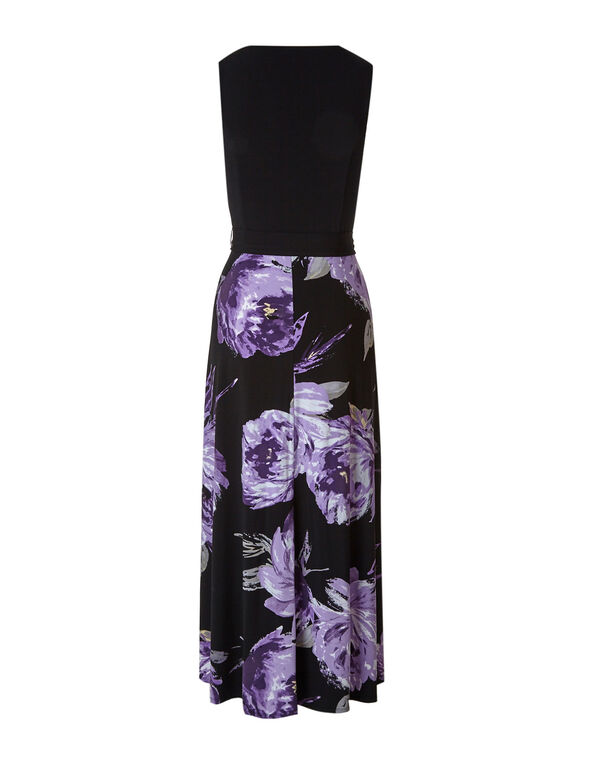 Purple Floral Maxi Dress, Purple, hi-res