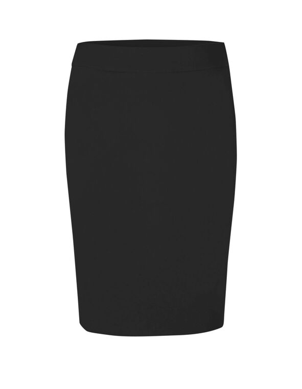 Black Pull On Pencil Skirt, Black, hi-res