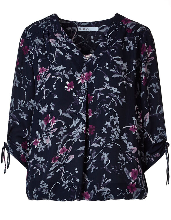 Navy Floral Ruched Detail Blouse, Navy, hi-res