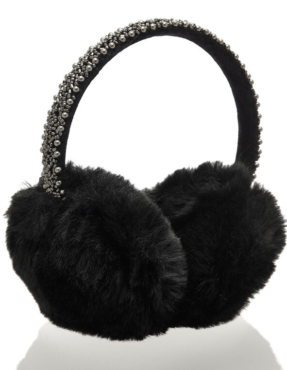Bead Embroidery Fluffy Earmuffs, Black, hi-res