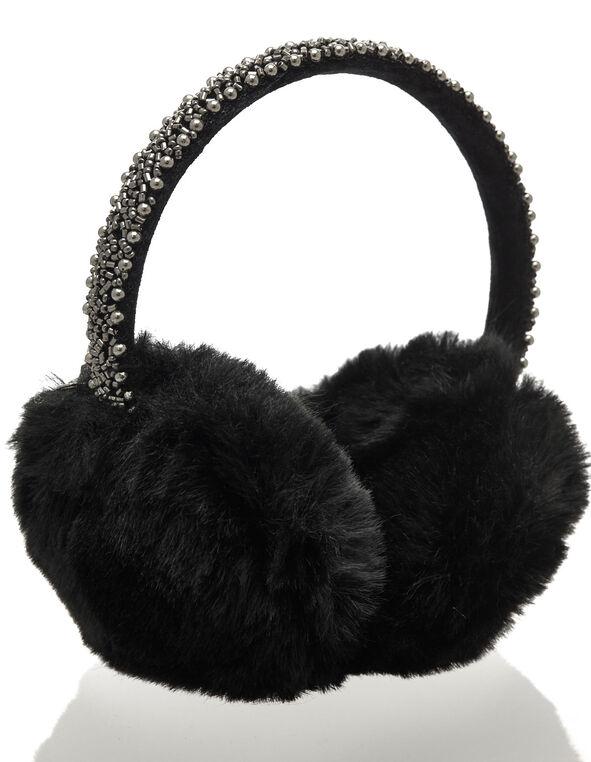 Bead Embroidery Fluffy Earmuffs, Black, hi-res