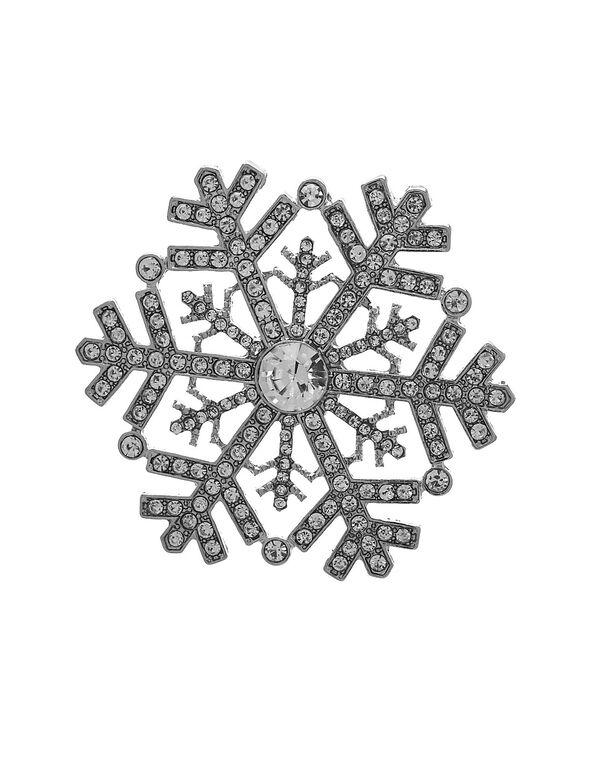 Silver Snowflake Pin, Silver, hi-res