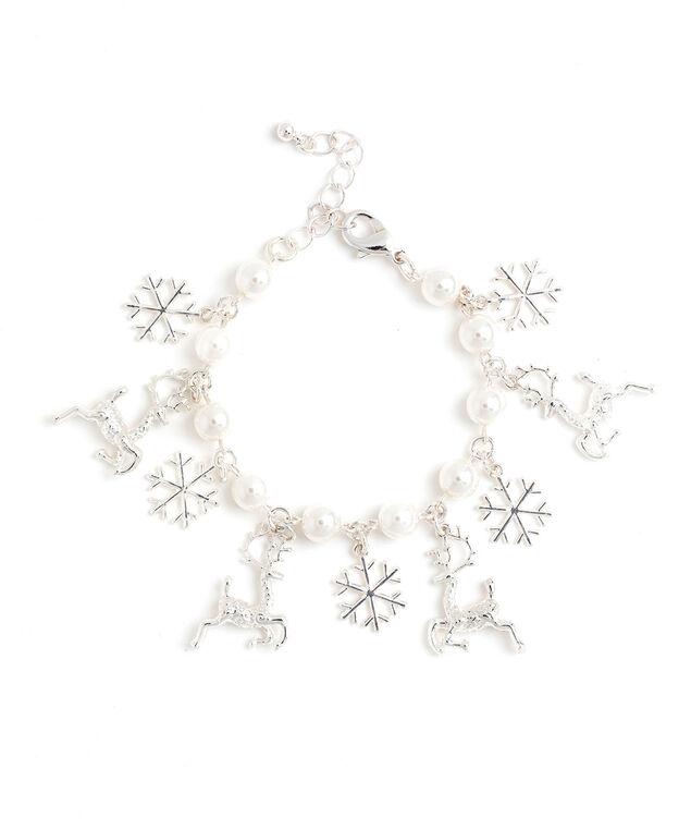 Pearl Reindeer Charm Bracelet, Silver