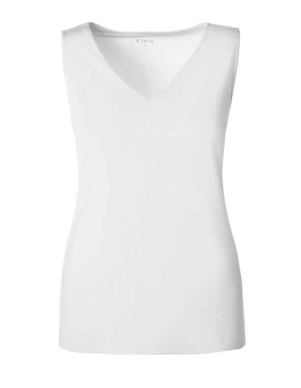 White Essential V-Neck Layering Tank, White, hi-res