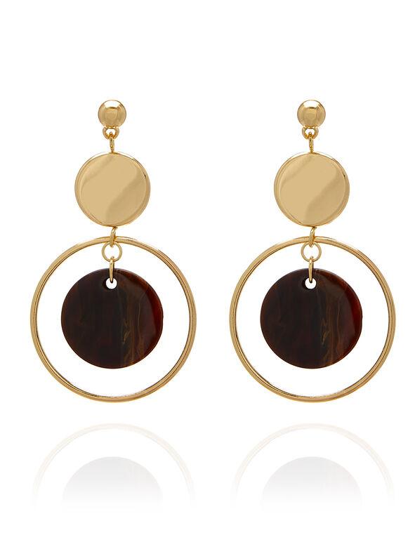 Tortoise Circle Drop Earring, Brown/Gold, hi-res