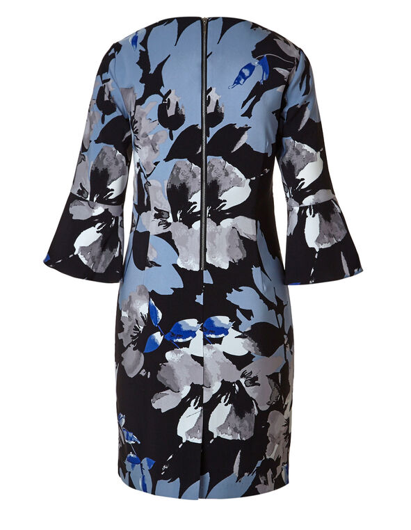 Blue Floral Bell Sleeve Shift Dress, Black/Blue, hi-res