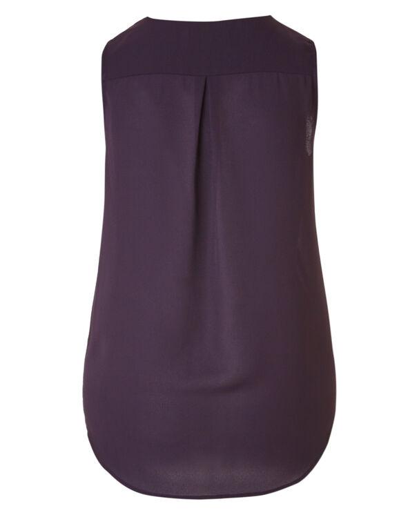 Purple Bubble Hem Hi-Low Blouse, Purple, hi-res