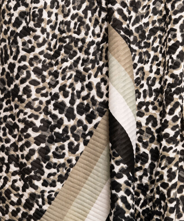 Striped Leopard Print Pleated Scarf, Black/Ivory/Taupe