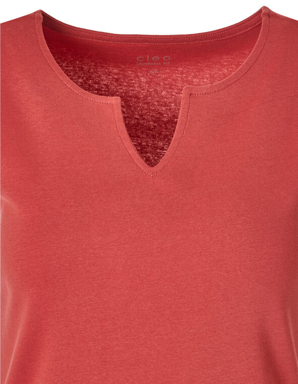 Coral Cotton Sleeveless Tee, Coral, hi-res