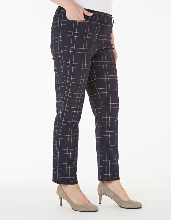 Navy Windowpane Slim Leg Ankle Pant, Navy, hi-res