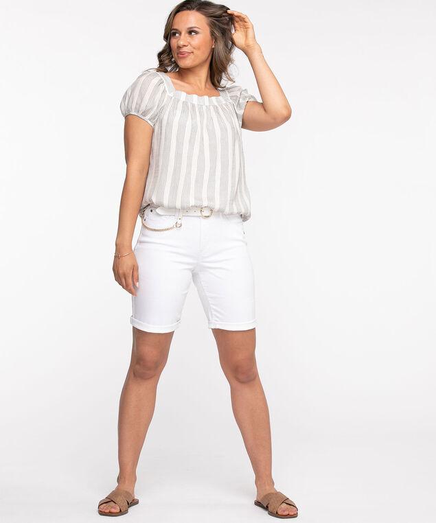Denim Slim Short, White