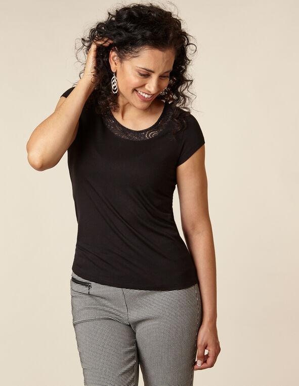 Black Lace Cap Sleeve Top, Black, hi-res