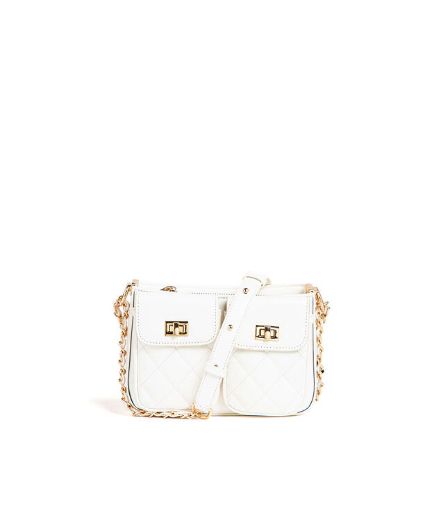Small Quilted Chain Strap Bag, White/Gold Metal