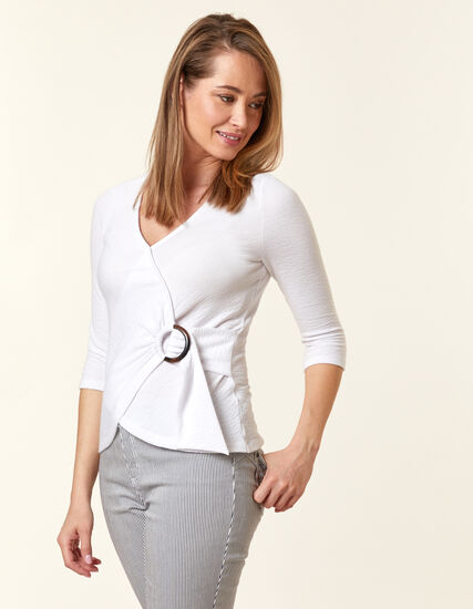 Ivory Cross Over Buckle Top, Ivory, hi-res