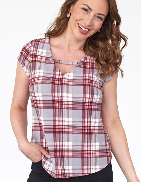 Pink Plaid Bubble Crepe Top, Pink/Grey, hi-res