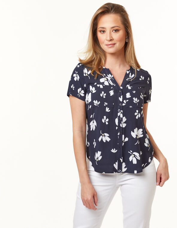 Button Front Blouse, Navy, hi-res