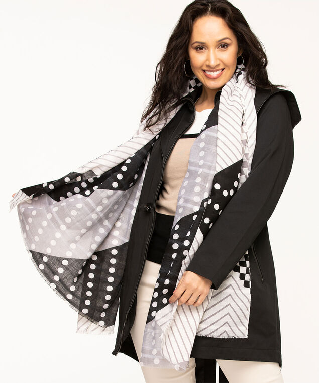 Graphic Stripes & Dots Scarf, Black/White/Grey