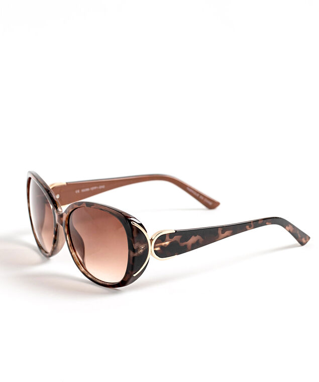 Brown Tortoise Shell Sunglasses , Brown/Rose Gold