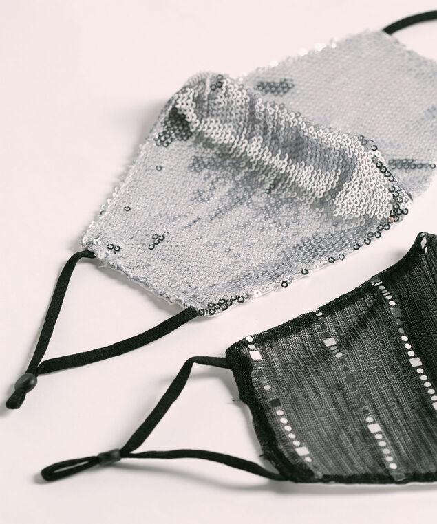 Cotton-Lined Sequin Face Mask Set, Black/Silver, hi-res