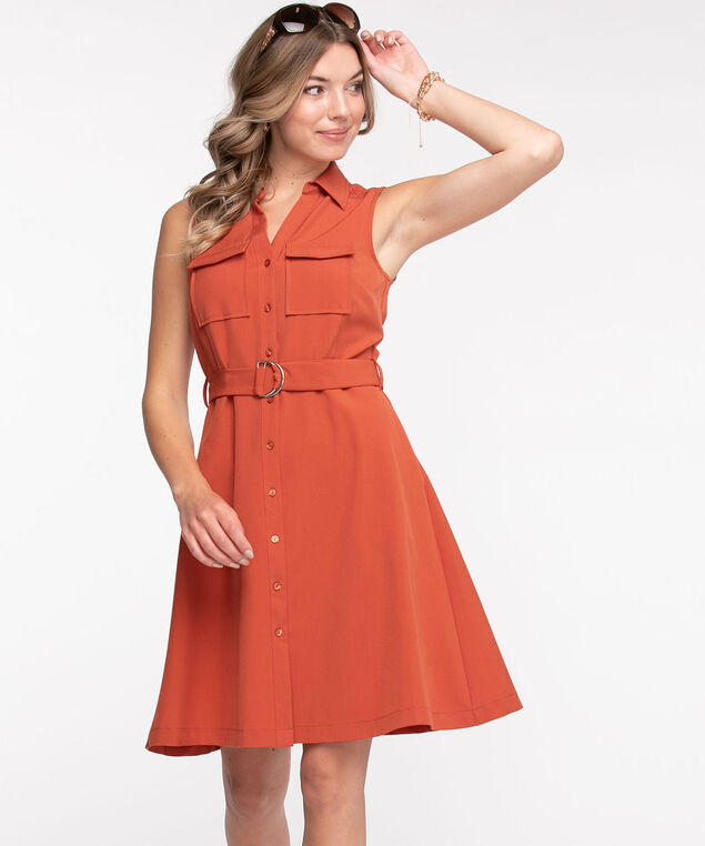 Sleeveless Collared Cargo Dress, Burnt Orange