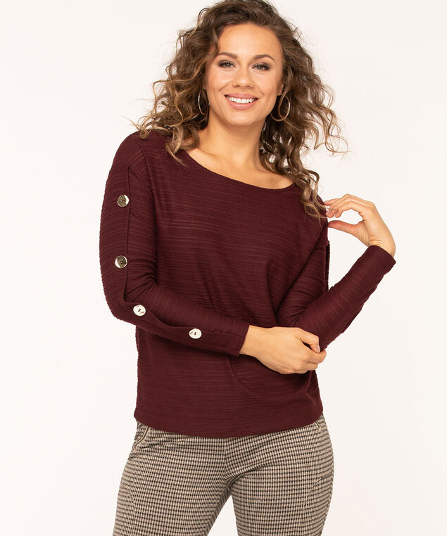 Textured Rib Knit Top, Mulberry, hi-res