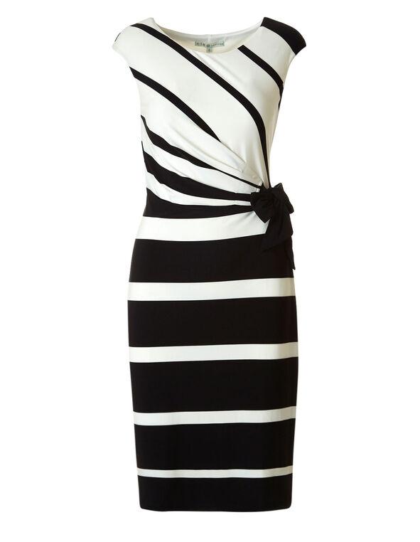 Black Tie Waist Dress, Black/Ivory, hi-res