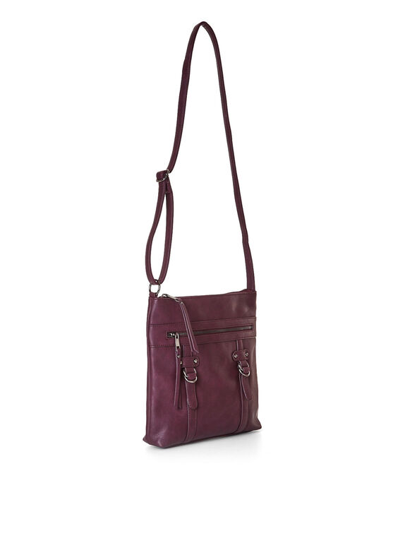 Burgundy Flat Cross-Body Handbag, Burgundy, hi-res