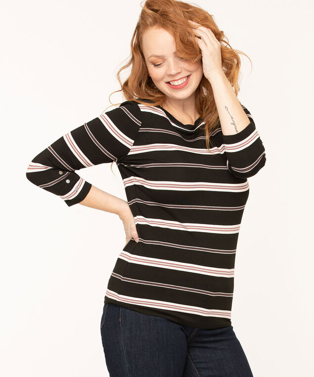 Striped Boat Neck Top, Black/Rose/Grey/White, hi-res