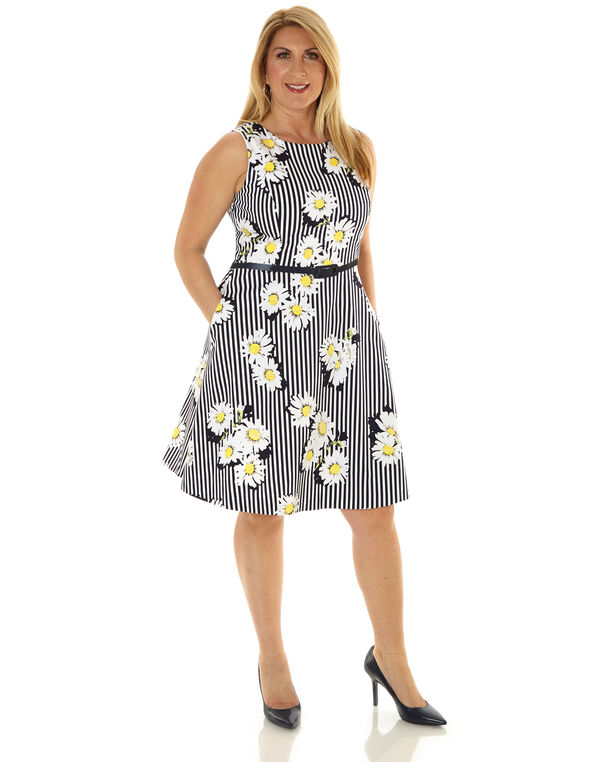 Yellow Floral Fit & Flare Dress, Yellow, hi-res