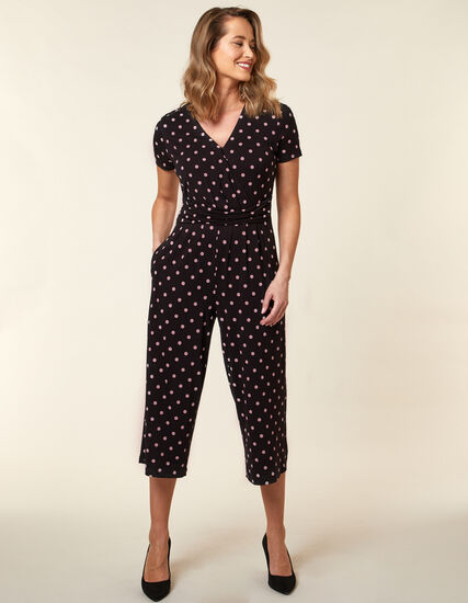 Carnation Polka Dot Jumpsuit, Black, hi-res