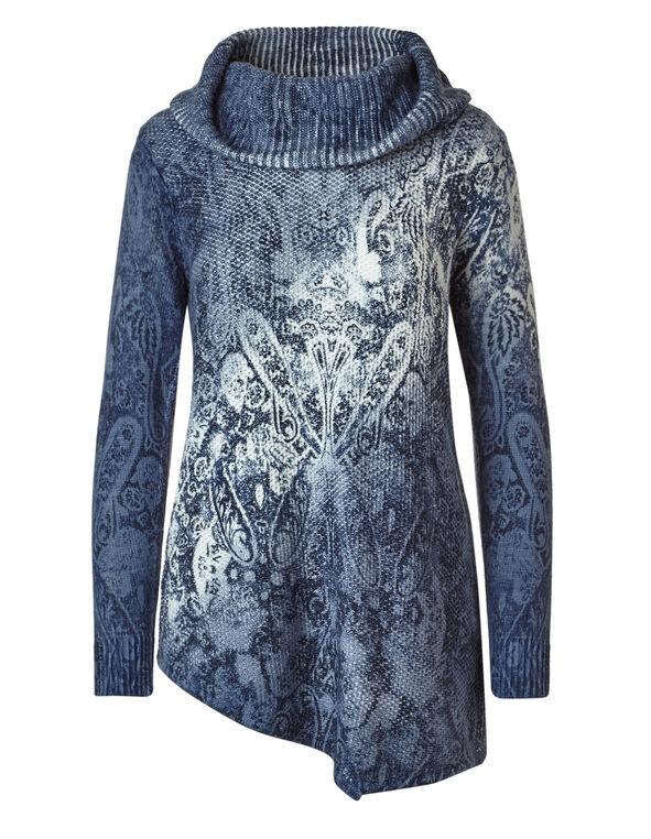 Blue Printed Sweater, Blue, hi-res